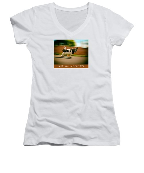 Women's V-Neck T-Shirt (Junior Cut) featuring the photograph Skateboarding Cow And Pals by James Bethanis