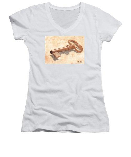Skeleton Key Women's V-Neck T-Shirt
