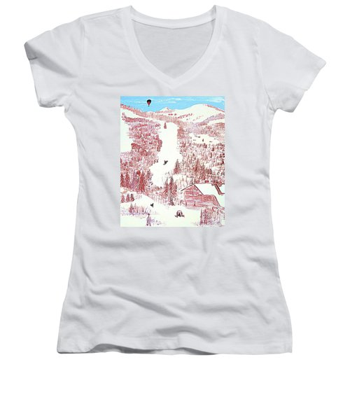 Skiing Deer Valley Utah Women's V-Neck T-Shirt (Junior Cut) by Richard W Linford