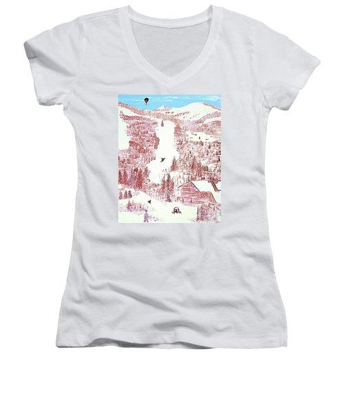 Skiing Deer Valley Utah Women's V-Neck T-Shirt