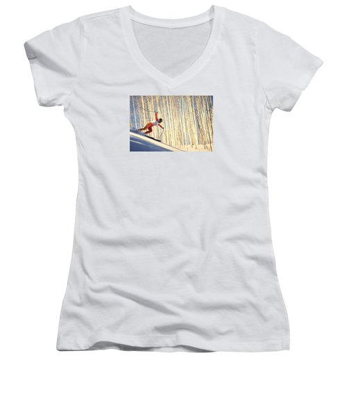 Skiing In Aspen, Colorado Women's V-Neck (Athletic Fit)