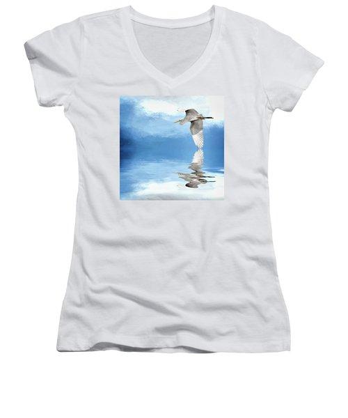 Skimming Women's V-Neck T-Shirt (Junior Cut) by Cyndy Doty