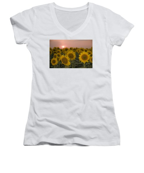 Skn 2178 The Sunflowers At Sunset  Women's V-Neck T-Shirt (Junior Cut) by Sunil Kapadia