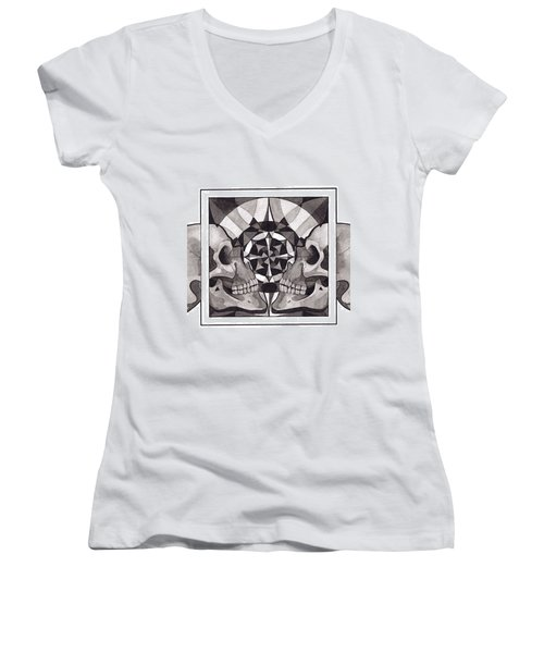 Skull Mandala Series Nr 1 Women's V-Neck T-Shirt (Junior Cut) by Deadcharming Art