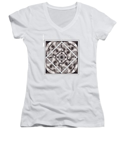 Skull Mandala Series Number Two Women's V-Neck T-Shirt (Junior Cut) by Deadcharming Art