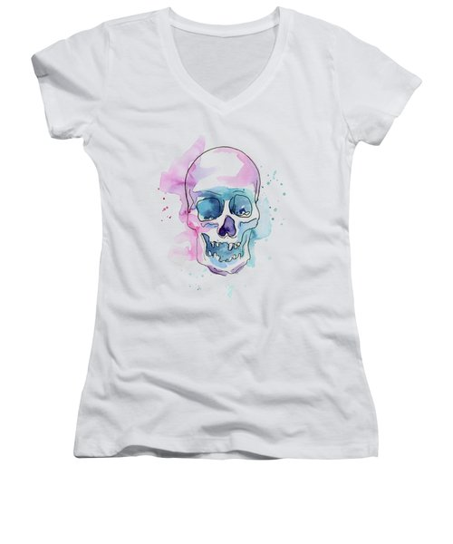 Skull Watercolor Abstract Women's V-Neck (Athletic Fit)
