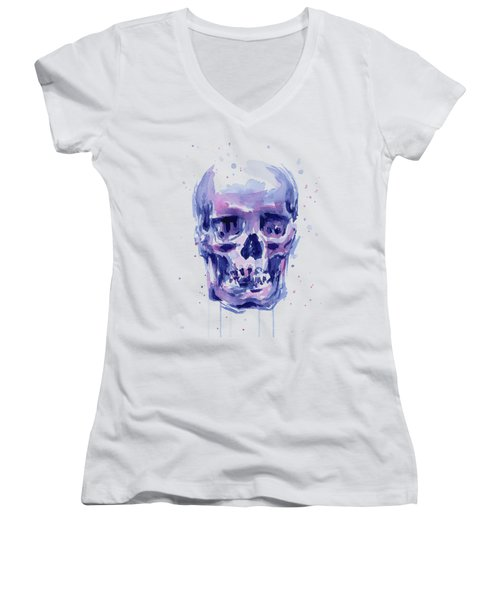 Skull Watercolor Women's V-Neck (Athletic Fit)