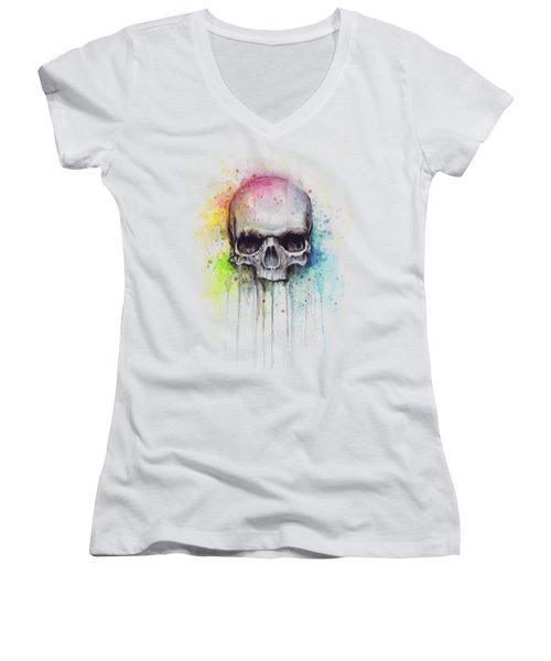 Skull Watercolor Painting Women's V-Neck T-Shirt (Junior Cut) by Olga Shvartsur