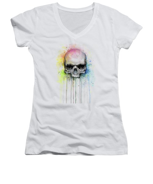 Skull Watercolor Rainbow Women's V-Neck (Athletic Fit)