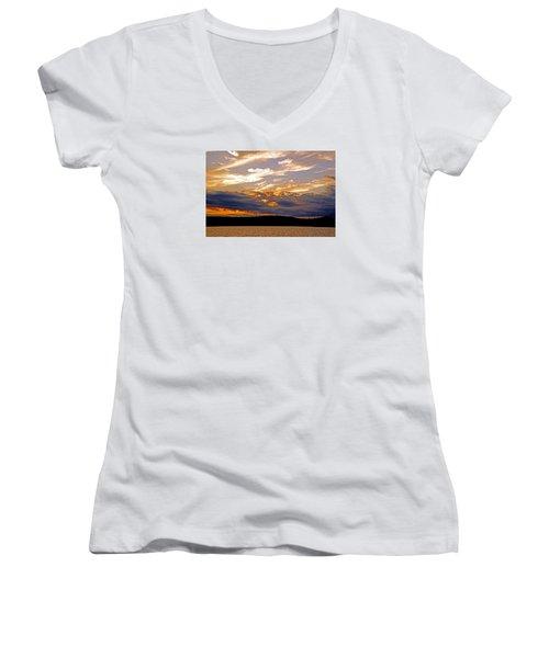 Women's V-Neck T-Shirt (Junior Cut) featuring the photograph Sky Fire by Lynda Lehmann