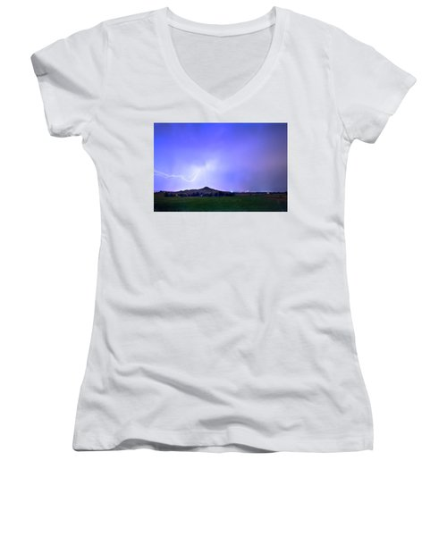 Women's V-Neck T-Shirt (Junior Cut) featuring the photograph Sky Monster Above Haystack Mountain by James BO Insogna