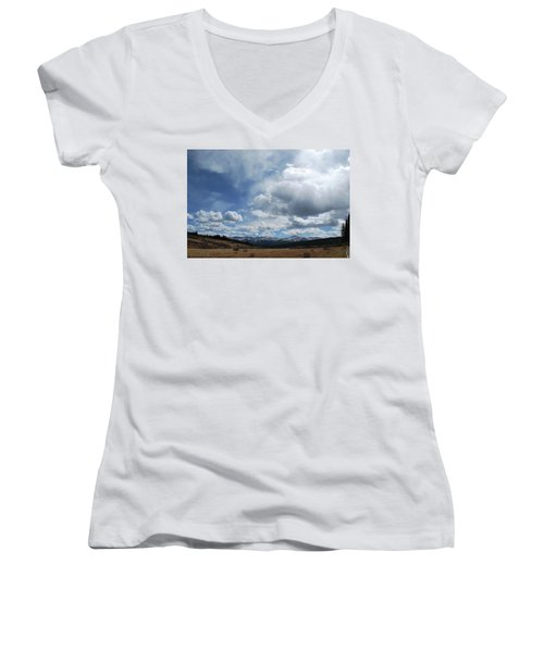 Women's V-Neck T-Shirt (Junior Cut) featuring the photograph Sky Of Shrine Ridge Trail by Amee Cave