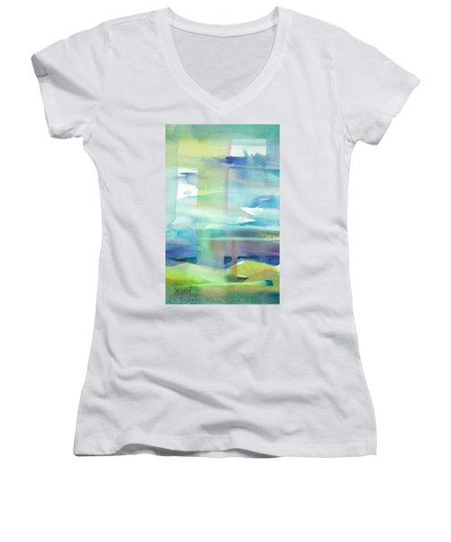 Women's V-Neck featuring the painting Sky Window 2 by Carolyn Utigard Thomas