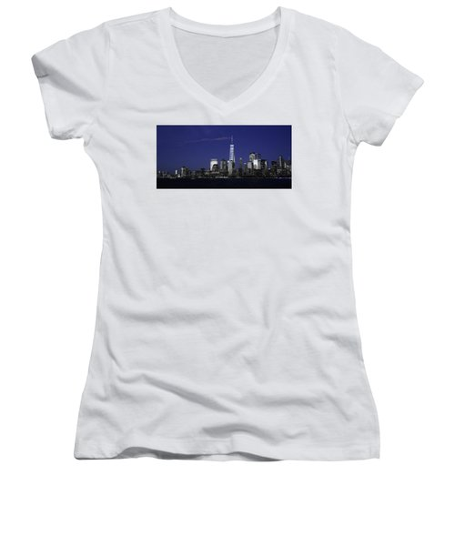 Skyline At Night  Women's V-Neck (Athletic Fit)