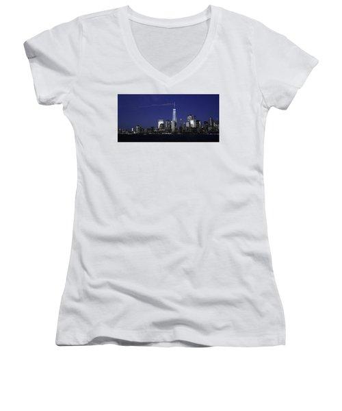 Skyline At Night  Women's V-Neck T-Shirt