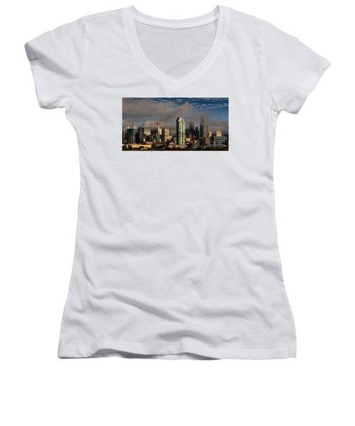 Skyline Fog Women's V-Neck T-Shirt (Junior Cut) by Brad Allen Fine Art