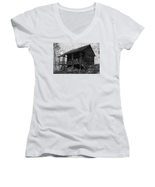 Women's V-Neck T-Shirt (Junior Cut) featuring the photograph Slabsides In Spring by Jeff Severson