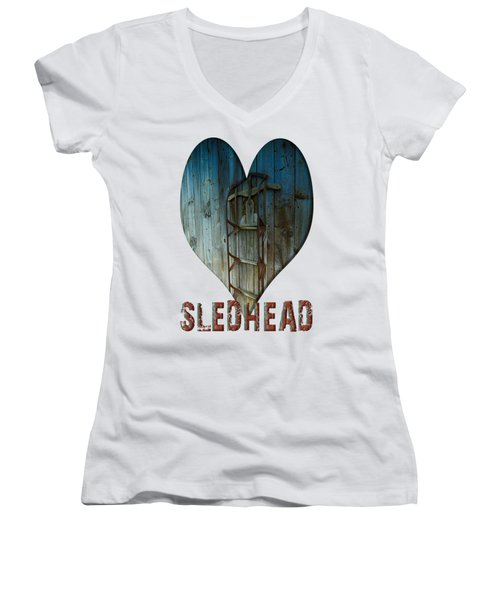 Sledhead Women's V-Neck T-Shirt (Junior Cut) by Mim White