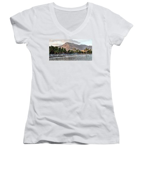 Sleepy Fishing Village Women's V-Neck T-Shirt