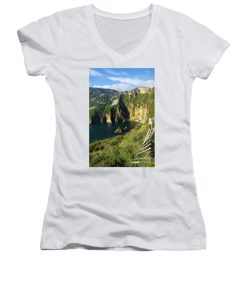 Women's V-Neck T-Shirt (Junior Cut) featuring the photograph Slieve League Cliffs Eastern End by RicardMN Photography