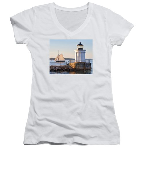 Sloop And Lighthouse, South Portland, Maine  -56170 Women's V-Neck T-Shirt (Junior Cut) by John Bald