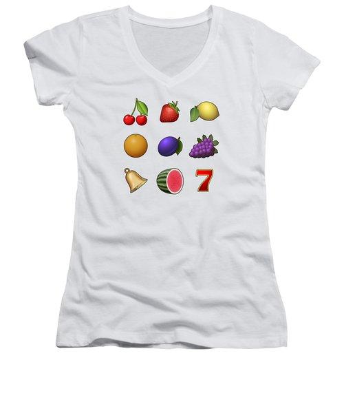 Slot Machine Fruit Symbols Women's V-Neck T-Shirt
