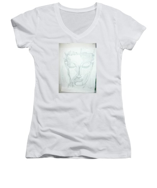 Slumbering Buddha Women's V-Neck T-Shirt (Junior Cut) by Sharyn Winters
