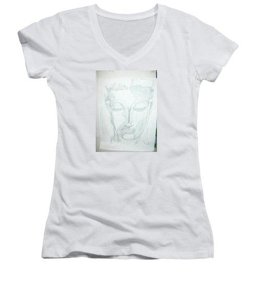 Slumbering Buddha Women's V-Neck T-Shirt (Junior Cut)