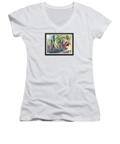 Small Park Scene Women's V-Neck T-Shirt