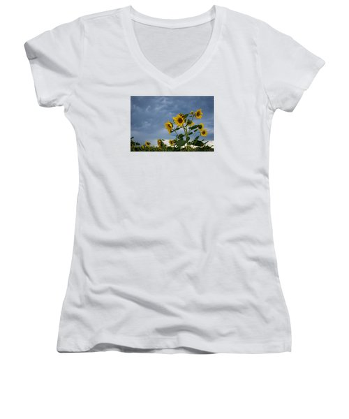 Small Sunflowers Women's V-Neck
