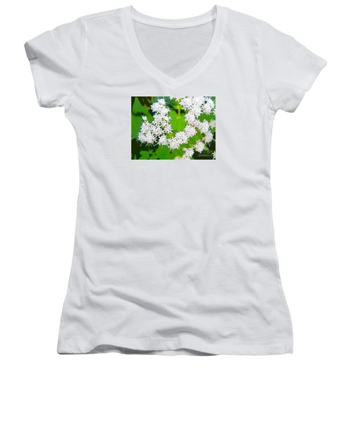 Small White Flowers Women's V-Neck (Athletic Fit)