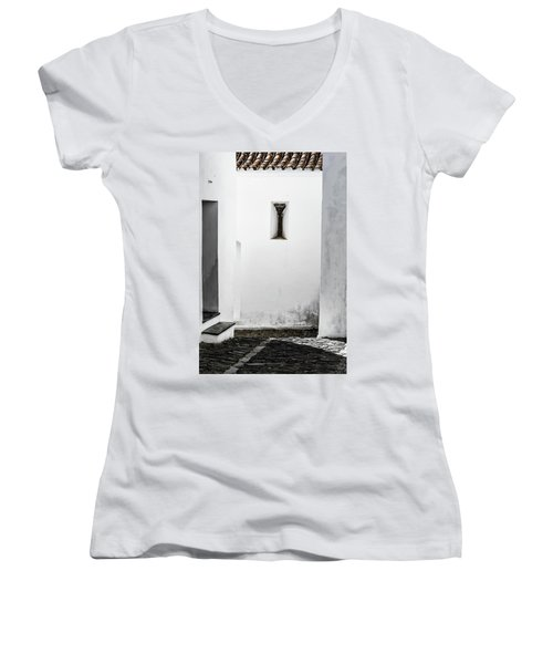 Small Window In White Wall Women's V-Neck T-Shirt (Junior Cut) by Edgar Laureano