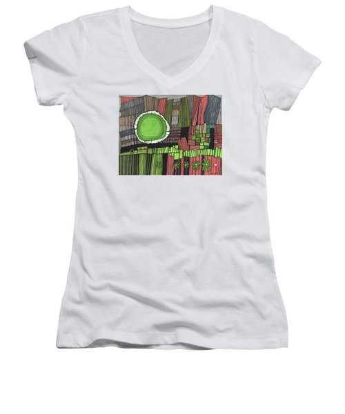 Sun Gone Green Women's V-Neck T-Shirt (Junior Cut) by Sandra Church