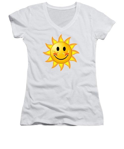 Smiley Face Sun Women's V-Neck T-Shirt (Junior Cut) by Robert G Kernodle
