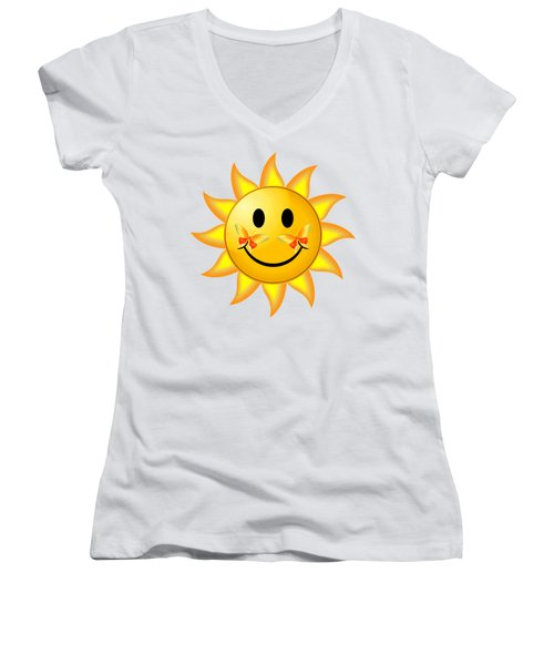 Smiley Face Sun Women's V-Neck (Athletic Fit)
