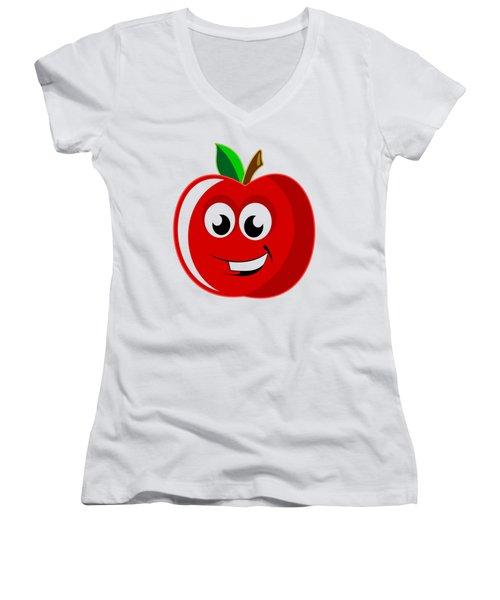 Smiley Tomato With Changeable Background  Women's V-Neck T-Shirt (Junior Cut) by Sebastien Coell