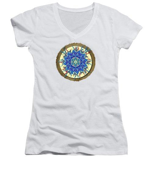 Smiling Blue Moon Mandala Women's V-Neck T-Shirt (Junior Cut) by Deborah Smith