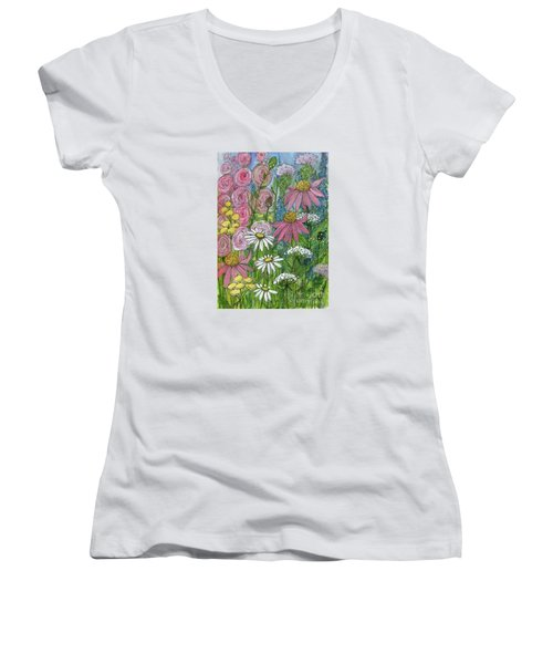 Smiling Flowers Women's V-Neck
