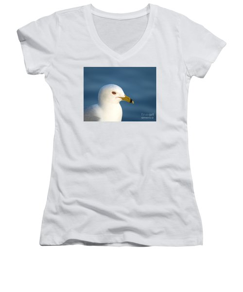 Smiling Seagull Women's V-Neck T-Shirt (Junior Cut) by Susan Dimitrakopoulos