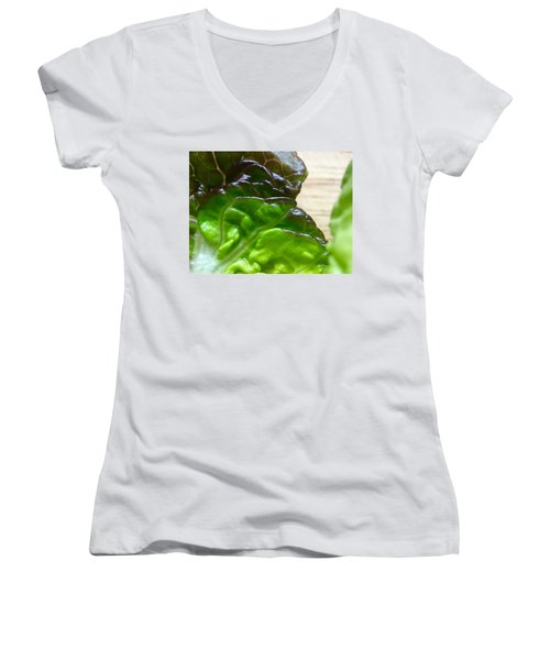 Smoked Prosciutto Open Sandwich Red Gem Lettuce Women's V-Neck