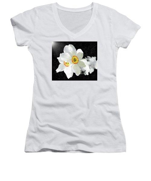 Smokey White Floral Women's V-Neck