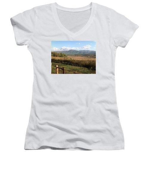 Smokies 1 Women's V-Neck T-Shirt (Junior Cut) by Val Oconnor