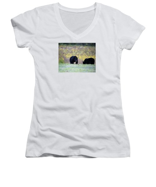 Smoky Mountain Black Bears Women's V-Neck T-Shirt (Junior Cut) by Nature Scapes Fine Art