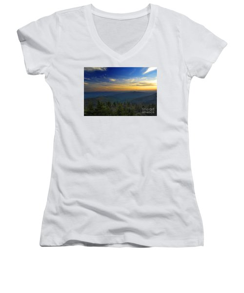 Smoky Mountain Sunset Women's V-Neck (Athletic Fit)