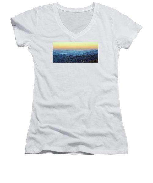 Smoky Mountains Women's V-Neck T-Shirt (Junior Cut) by Nancy Landry