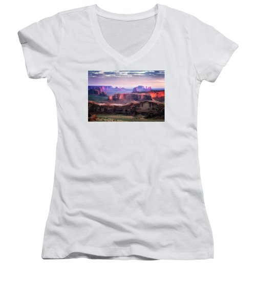 Smooth Sunset Women's V-Neck T-Shirt (Junior Cut) by Nicki Frates
