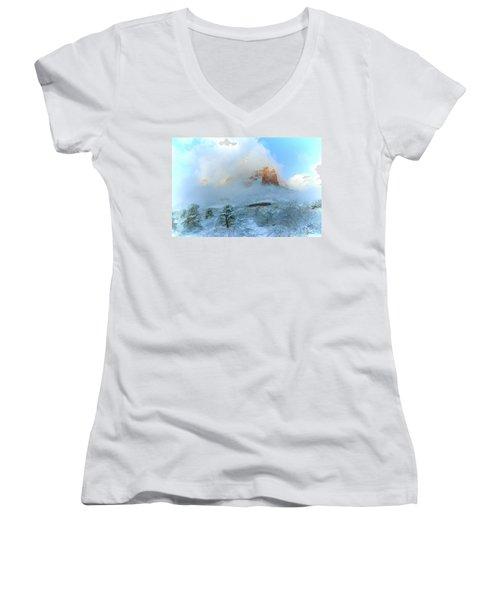 Snow 07-104 Women's V-Neck T-Shirt (Junior Cut) by Scott McAllister