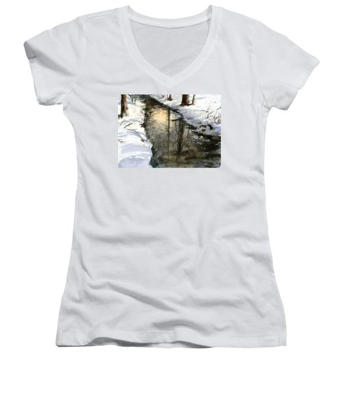 Women's V-Neck featuring the painting Snow Creek by Andrew King