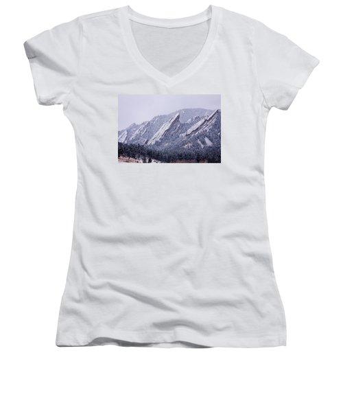 Snow Dusted Flatirons Boulder Colorado Women's V-Neck