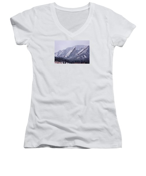 Snow Dusted Flatirons Boulder Colorado Women's V-Neck (Athletic Fit)